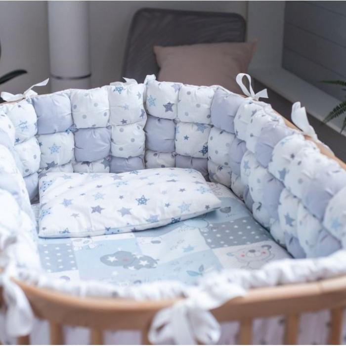 Постельный комплект ComfortBaby Медвежонок и друзья голубой для кроваток 8 в 1