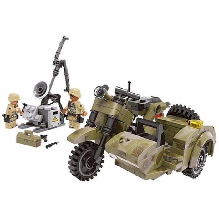 Конструктор XingBao Военный мотоцикл с коляской (256 деталей) - XB-06008