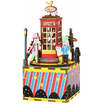 "Деревянный 3D конструктор - музыкальная шкатулка Robotime ""Phone Booth"" - AM401"
