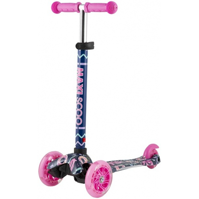 Самокат трехколесный со светящимися колесами Фламинго