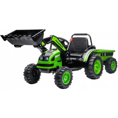 Детский электромобиль трактор с ковшом и прицепом (зеленый, 2WD, EVA) - HL389-LUX-GREEN-TRAILER