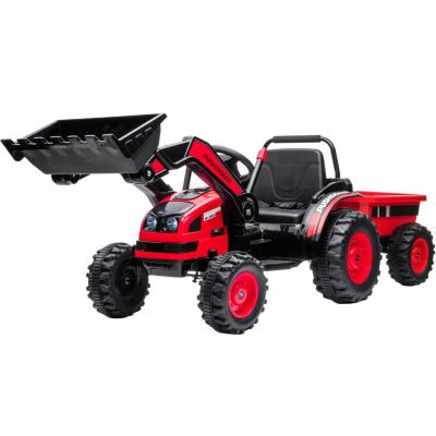 Детский электромобиль трактор с ковшом и прицепом (красный, 2WD, EVA) - HL389-LUX-RED-TRAILER
