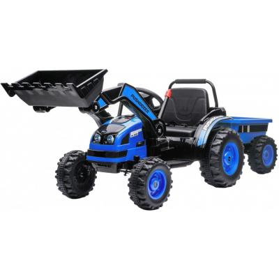 Детский электромобиль трактор с ковшом и прицепом (синий, 2WD, EVA) - HL389-LUX-BLUE-TRAILER