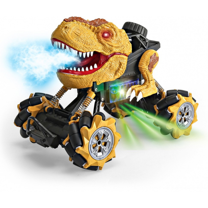 Радиоуправляемая коричневая машина-динозавр T-rex (дрифт колеса, пар) - 11810-BROWN