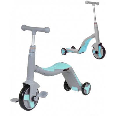 Детский самокат-беговел с музыкой 3 в 1 (самокат, беговел, велосипед) - FL-868 серо-синий
