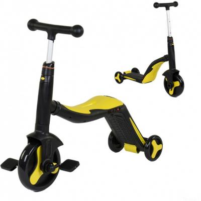 Детский самокат-беговел с музыкой 3 в 1 (самокат, беговел, велосипед) - FL-868 черно-желтый