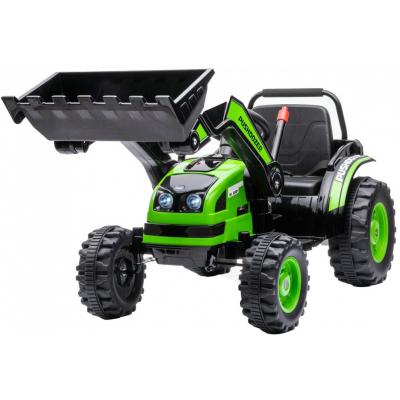 Детский электромобиль трактор с ковшом и пультом управления (зеленый, 2WD, EVA) - HL389-LUX-GREEN
