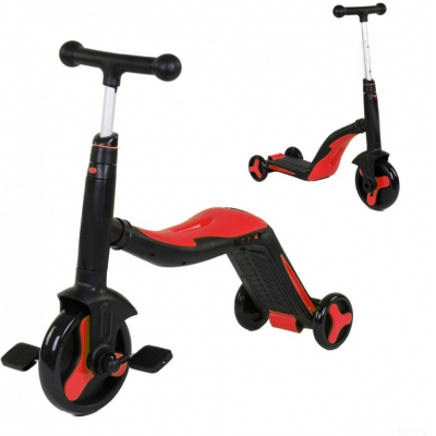 Детский самокат-беговел с музыкой 3 в 1 (самокат, беговел, велосипед) - FL-868 черно-красный