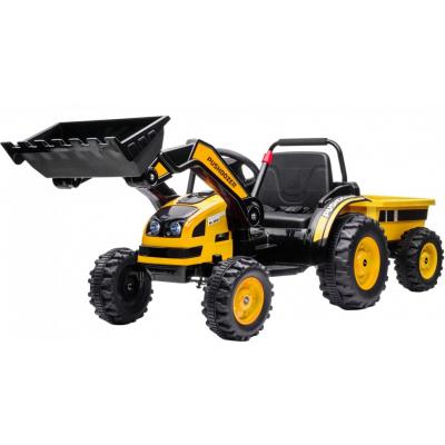 Детский электромобиль трактор с ковшом и прицепом (желтый, 2WD, EVA) - HL389-LUX-YELLOW-TRAILER