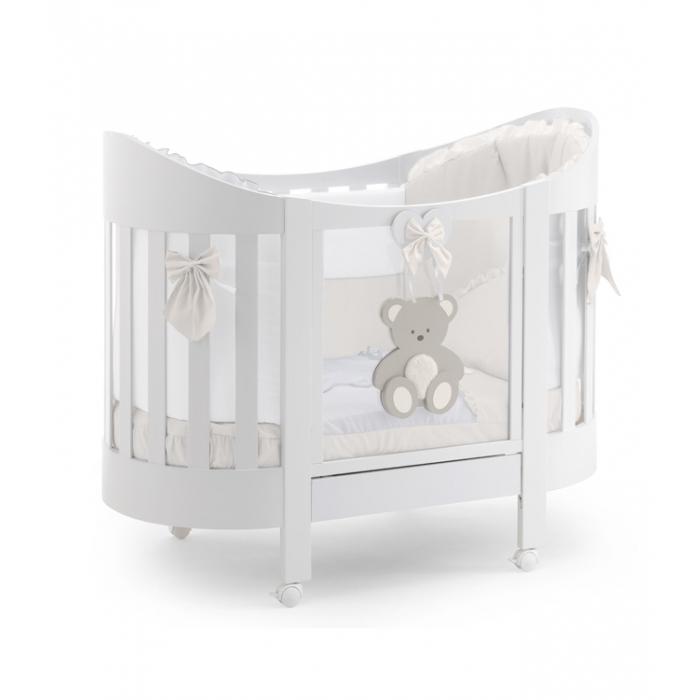 Овальная кровать Italbaby Peluche Oval белая