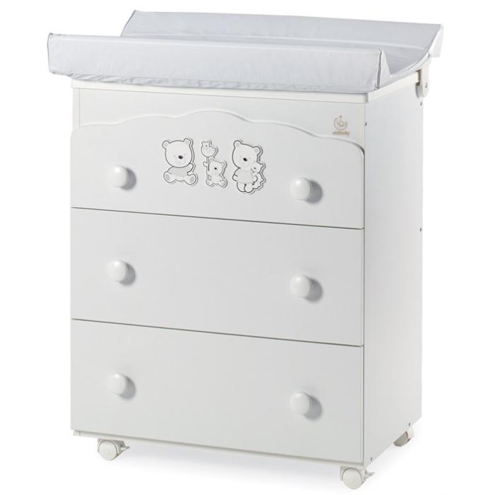 Пеленальный комод Happy Family с 3 ящиками белый