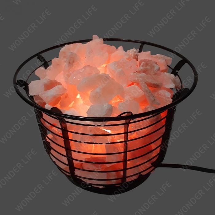 Соляная лампа Металлическая корзина с камнями
