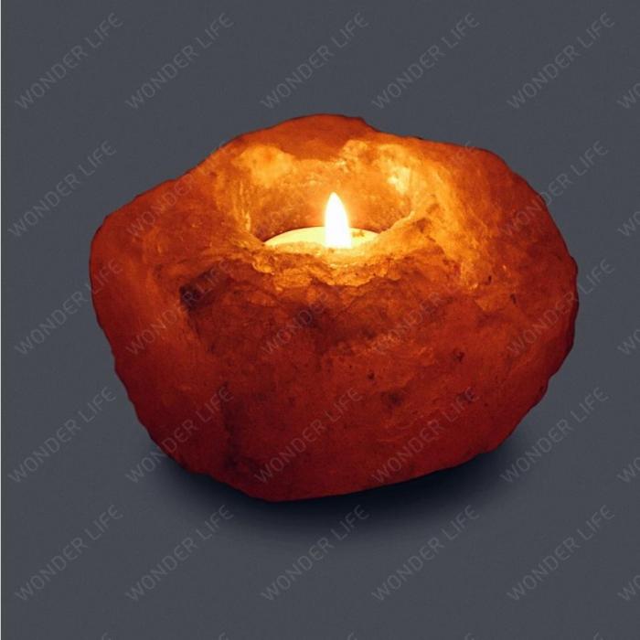 Подсвечник Уникальный из Гималайской соли 800-1200 г подарочная коробка