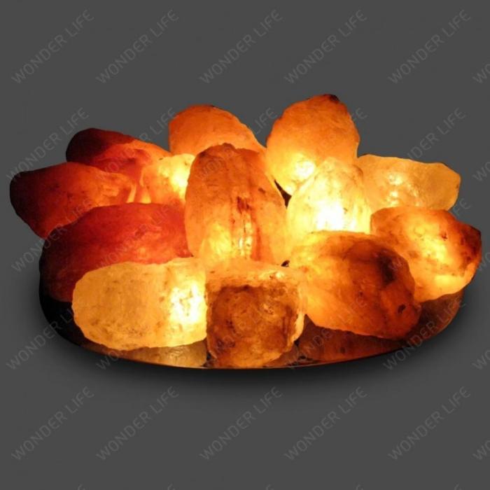 Солевая лампа Огненная чаша с 15 камнями на блюде