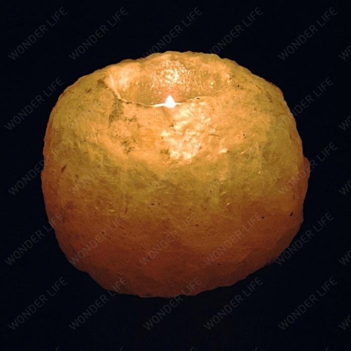 Подсвечник из Гималайской соли около 1 кг светлая соль подарочная коробка